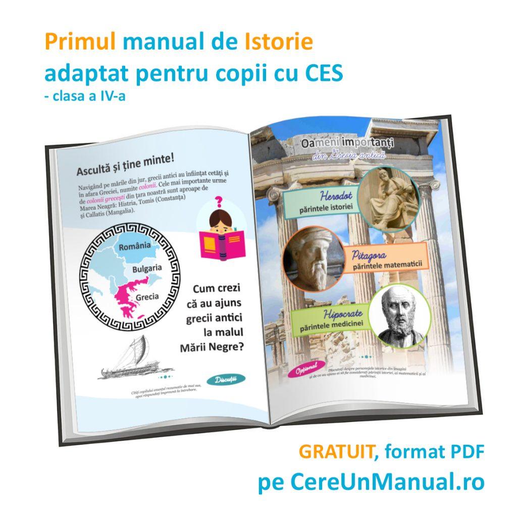 Manualul adaptat de istorie pentru clasa a IV-a - pentru copii cu CES (dizabilitate cognitivă, deficiențe de vedere, dislexie etc)